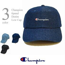 チャンピオン 帽子 メンズ レディス デニム ローキャップ 男女兼用 6パネルキャップ フリーサイズ ウォッシャブル ベースボールキャップ 定番 日本正規代理店商品 CHAMPION 送料無料 型崩れしない箱入れ発送です。381-0136