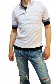 ポロシャツ メンズ 半袖 レイヤード 無地 五分袖 Tシャツ 重ね着 テレコタイプ ボタンダウン 大きいサイズ DEBUT デビュー(men'sTシャツ、men'sクールビズ)