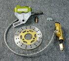GM-MOTOジーエムモト8インチホイール対応ワイドスイングアーム用ワイドハブ&ディスクブレーキシステムキャリパーアルマイトカラー:イエローゴールド