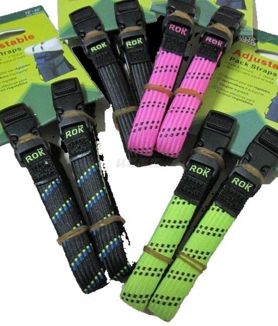 【在庫あり】ROKstraps ROKストラップス ツーリングネット・コード・フック MCストレッチストラップ 2本入り カラー:ブラックxブルー/グリーン
