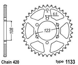 ビーワン B1 リアスプロケット DERBI 420/APRILIA/PEUGEOT【Steel crown B1 chain Derbi 420 / Aprilia / Peugeot】【ヨーロッパ直輸入品】 Teeth count:53