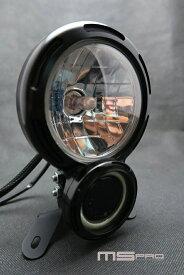 【ポイント5倍開催中!!】【クーポンが使える!】 エムエスプロ 8タイプヘッドライト (SCRAMBLER) COBAperture color:Blue light H4 Lamp Specifications:Yellow light Headlights Body color:Sliver