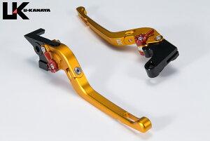 U-KANAYA ユーカナヤ 可倒式Rタイプ アルミビレットレバーセット アジャスターカラー:マットオレンジ レバーカラー:マットゴールド Multistrada 1100/S