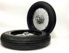 GM-MOTO ジーエムモト ホイール本体 ワイドホイール・メッキスポーク&極太タイヤセット タイプ:前後セット カブ