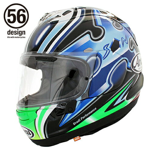 56デザイン フルフェイスヘルメット Arai x 56design RX-7X Nakano Shuriken Green ヘルメット サイズ:L(59-60)