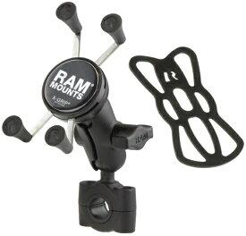 RAM MOUNT ラムマウント Xグリップ&バーマウントベース スマートフォン用 ショートアーム テザー付