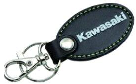 【在庫あり】【イベント開催中!】 KAWASAKI カワサキ オーバルレザーキーホルダー カラー:ブラック