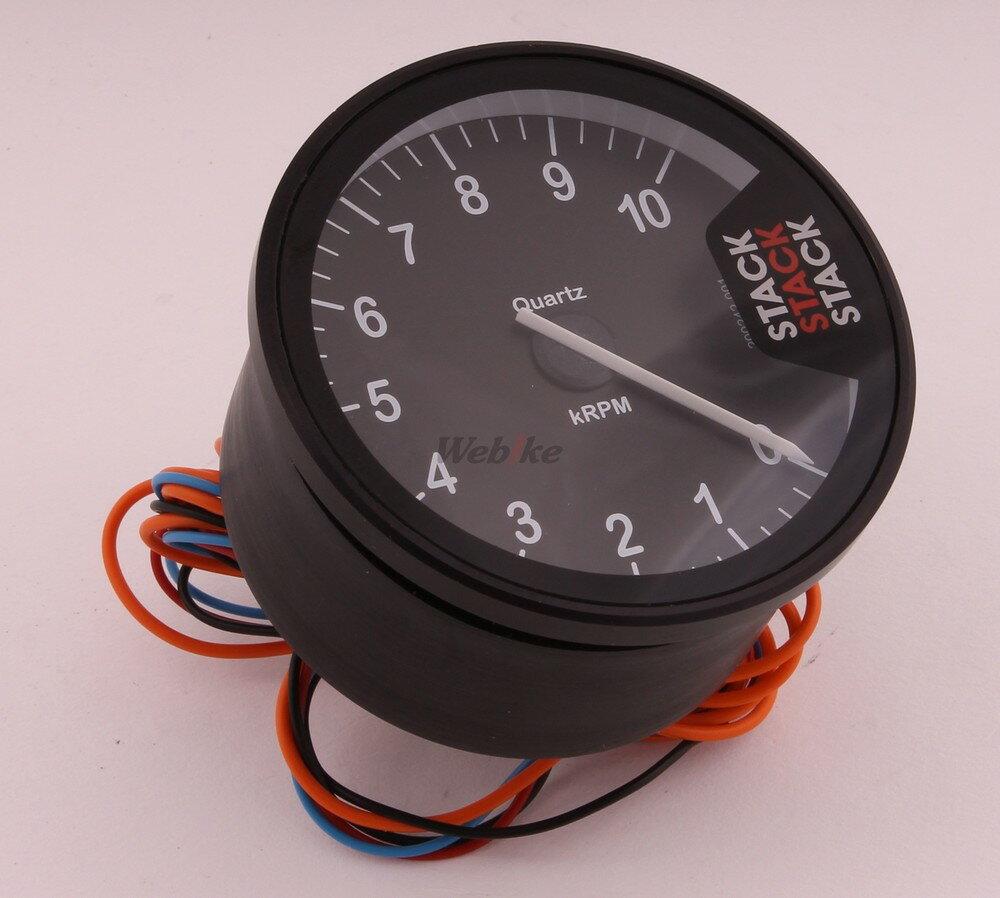 STACK スタック ST200 クラブマンタコメーター メーターパネルカラー:クラシックブラック(針=ホワイト) 表示回転数:0-10000rpm