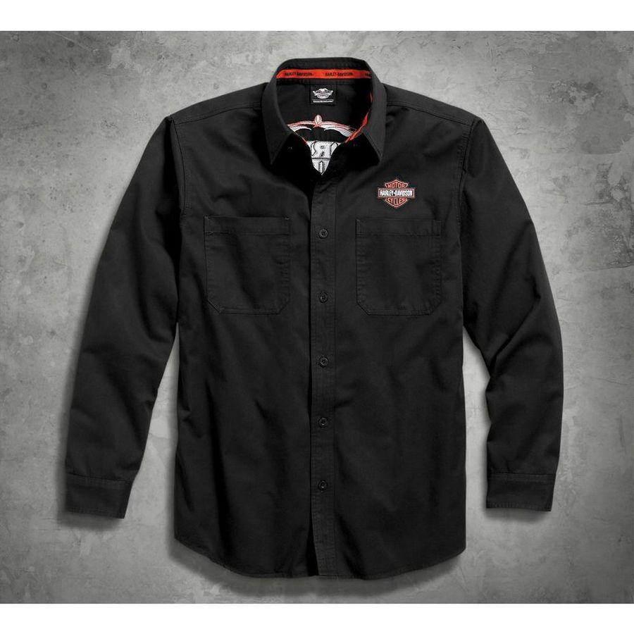 HARLEY-DAVIDSON ハーレーダビッドソン カジュアルウェア Men's Black Pinstripe Flames Woven Shirt Size:TALL-M