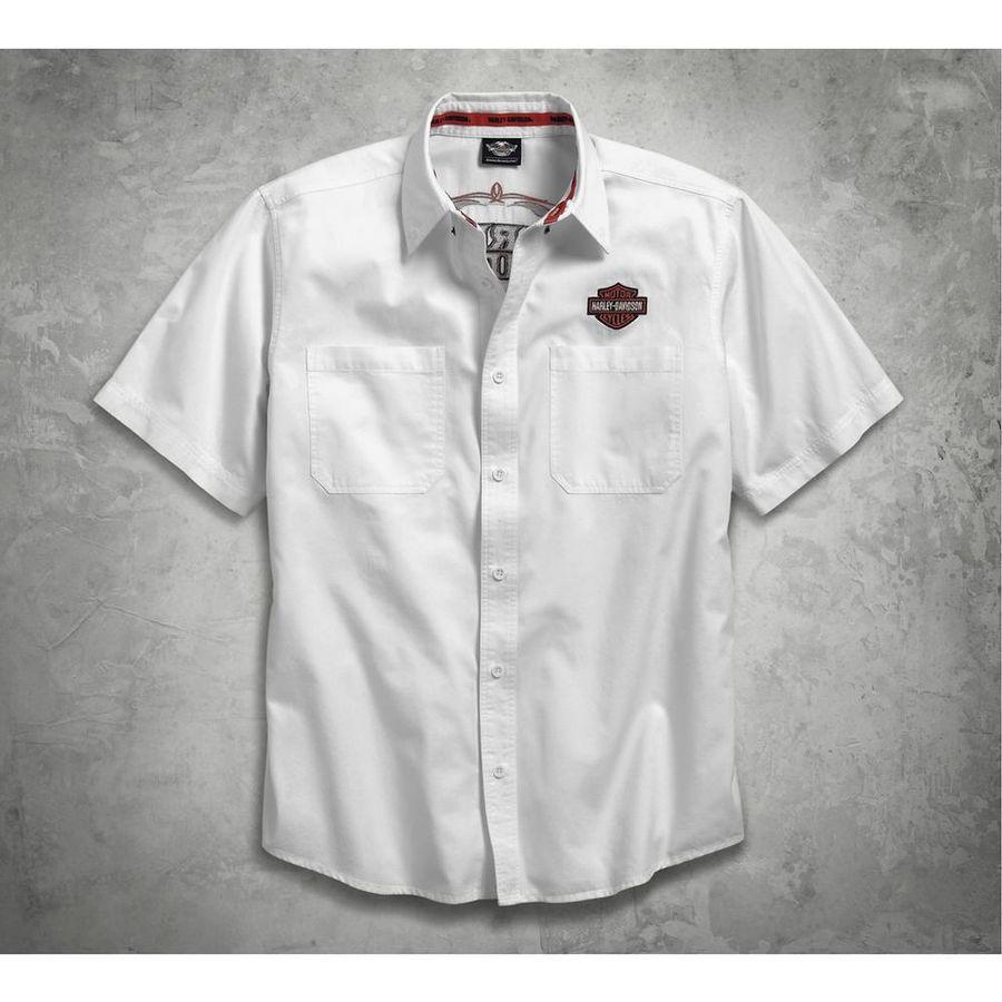 HARLEY-DAVIDSON ハーレーダビッドソン カジュアルウェア Men's White Pinstripe Flames Shirt SIZE:M
