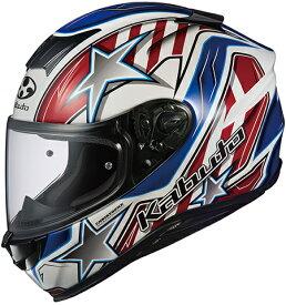 OGK KABUTO オージーケーカブト フルフェイスヘルメット AEROBLADE-5 VISION [エアロブレード・ファイブヴィジョン] ホワイトブルーレッド ヘルメット サイズ:XL(61-62cm未満)