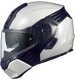 【在庫あり】OGK KABUTO オージーケーカブト システムヘルメット KAZAMI [カザミ ホワイトメタリック/ブラック] ヘルメット サイズ:L