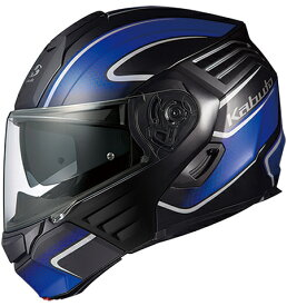 【在庫あり】OGK KABUTO オージーケーカブト システムヘルメット KAZAMI [カザミ] XCEVA [エクセヴァ] フラットブラックブルー ヘルメット サイズ:L(59-60cm)