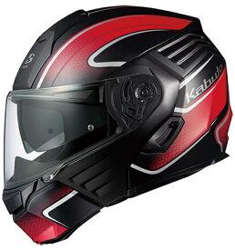 【在庫あり】OGK KABUTO オージーケーカブト システムヘルメット KAZAMI [カザミ] XCEVA [エクセヴァ] フラットブラックレッド ヘルメット サイズ:L(59-60cm)