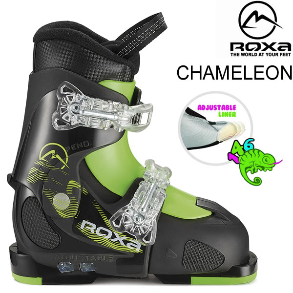 ROXA ロクサ ジュニア スキーブーツ 2019 CHAMELEON ブラック×ライム サイズアジャスト式 子供用 (18-19 2019) フリースタイルスキー ブーツ 【w95】【w69】