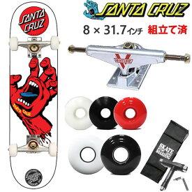 サンタクルーズ スケボー コンプリート SCREAMING HAND ホワイトレッド 8x31.7インチ ベンチャートラックセット SANTACRUZ スケートボード完成品【w63】
