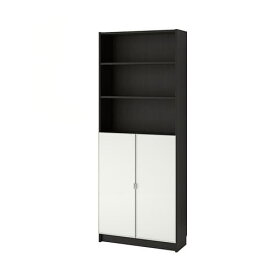 【IKEA/イケア/通販】 BILLY ビリー / MORLIDEN モールリーデン 書棚 ガラス扉付, ブラックブラウン, ガラス(a)(S49287350)【代引不可商品】