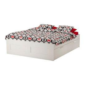 【IKEA/イケア/通販】 BRIMNES ブリムネス ベッドフレーム 収納付き, ホワイト, ルーローイ(a)(S89252495)【代引不可商品】