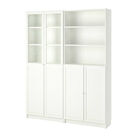 【IKEA/イケア/通販】 BILLY ビリー / OXBERG オクスベリ 書棚 パネル/ガラス扉付き, ホワイト(a)(S49280725)【代引不可商品】