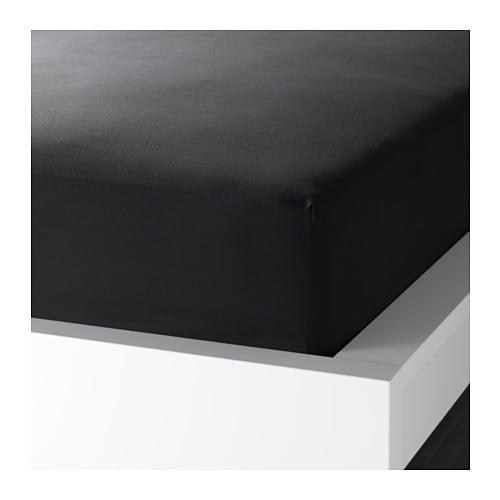 【IKEA/イケア/通販】 DVALA ドヴァーラ ボックスシーツ, ブラック(e)(90396780)