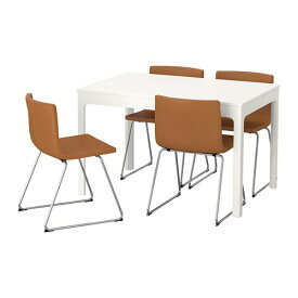 【IKEA/イケア/通販】 EKEDALEN エーケダーレン / BERNHARD ベルナード テーブル&チェア4脚, ホワイト, ミューク ゴールデンブラウン(a)(S69280767)【代引不可商品】