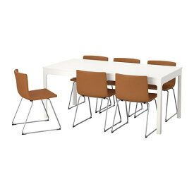 【IKEA/イケア/通販】 EKEDALEN エーケダーレン / BERNHARD ベルナード テーブル&チェア6脚, ホワイト, ミューク ゴールデンブラウン(a)(S29280694)【代引不可商品】