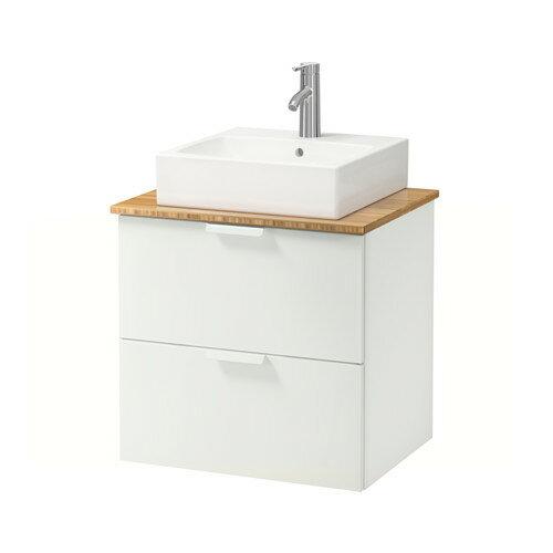 【IKEA/イケア/通販】 GODMORGON/TOLKEN / TÖRNVIKEN 洗面台 カウンタートップ付き 洗面ボウル45×45, ホワイト, 竹(a)(S19205209)