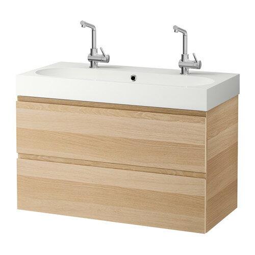 【IKEA/イケア/通販】 GODMORGON / BRÅVIKEN 洗面台(引き出し×2), ホワイトステインオーク調(a)(S39186530)