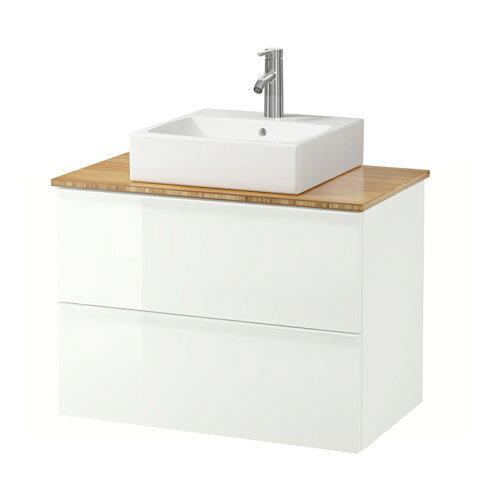 【IKEA/イケア/通販】 GODMORGON/TOLKEN / TÖRNVIKEN 洗面台 カウンタートップ付き 洗面ボウル45×45, ハイグロス ホワイト, 竹(a)(S49205180)