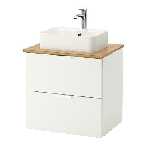 【IKEA/イケア/通販】 GODMORGON/TOLKEN / HÖRVIK 洗面台 カウンタートップ付き(洗面ボウル45×32), ホワイト, 竹(b)(S49213566)