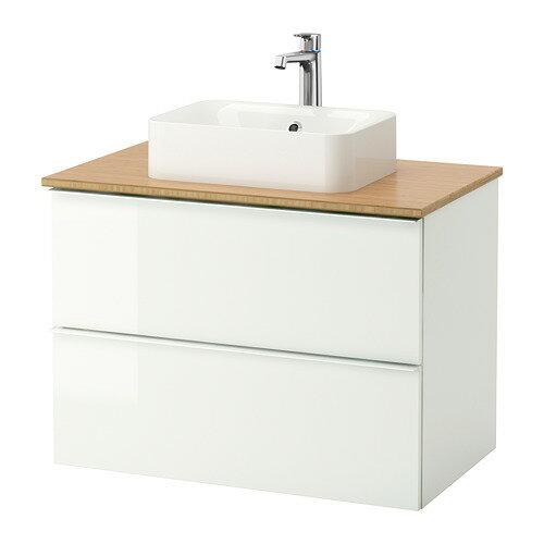 【IKEA/イケア/通販】 GODMORGON/TOLKEN / HÖRVIK 洗面台 カウンタートップ付き(洗面ボウル45×32), ハイグロス ホワイト, 竹(b)(S49213571)