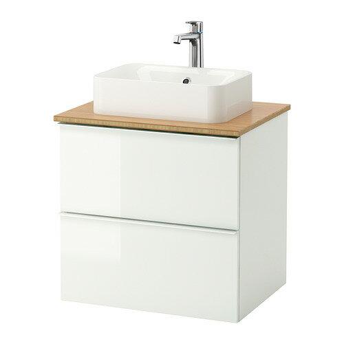 【IKEA/イケア/通販】 GODMORGON/TOLKEN / HÖRVIK 洗面台 カウンタートップ付き(洗面ボウル45×32), ハイグロス ホワイト, 竹(b)(S69213565)