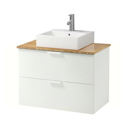 【IKEA/イケア/通販】 GODMORGON/TOLKEN / TÖRNVIKEN 洗面台 カウンタートップ付き 洗面ボウル45×45, ホワイト, 竹(a)(S79205414)