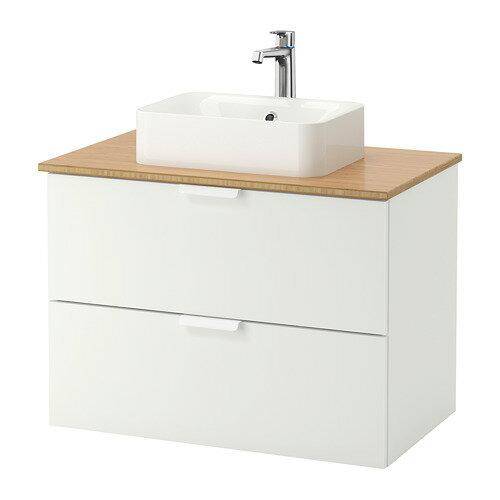 【IKEA/イケア/通販】 GODMORGON/TOLKEN / HÖRVIK 洗面台 カウンタートップ付き(洗面ボウル45×32), ホワイト, 竹(b)(S89222093)