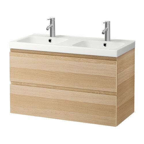 【IKEA/イケア/通販】 GODMORGON / ODENSVIK 洗面台(引き出し×2), ホワイトステインオーク調(a)(S29186578)