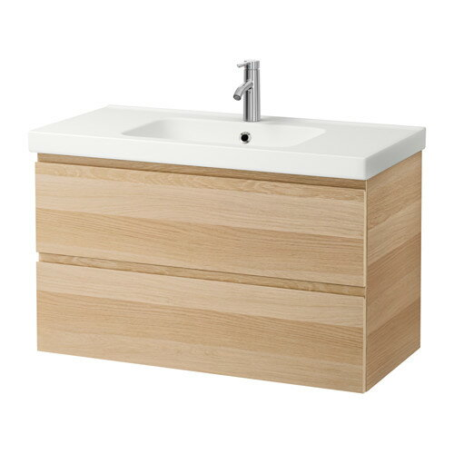 【IKEA/イケア/通販】 GODMORGON / ODENSVIK 洗面台(引き出し×2), ホワイトステインオーク調(a)(S09186584)