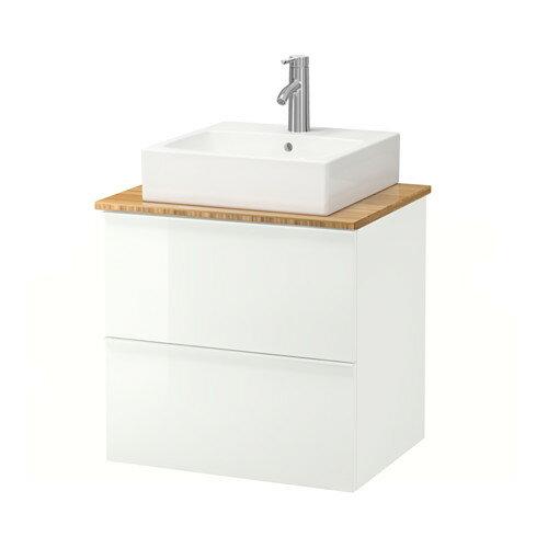 【IKEA/イケア/通販】 GODMORGON/TOLKEN / TÖRNVIKEN 洗面台 カウンタートップ付き 洗面ボウル45×45, ハイグロス ホワイト, 竹(a)(S89205121)