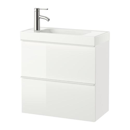 【IKEA/イケア/通販】 GODMORGON / HAGAVIKEN 洗面台(引き出し×2), ハイグロス ホワイト(a)(S89156026)