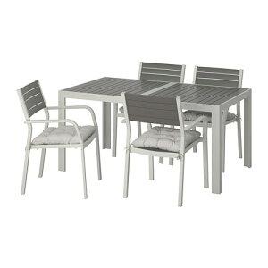 【IKEA/イケア/通販】 SJLLAND シェランド テーブル+チェアアームレスト付き4 屋外用, ダークグレー, クッダルナ グレー(S19291513)