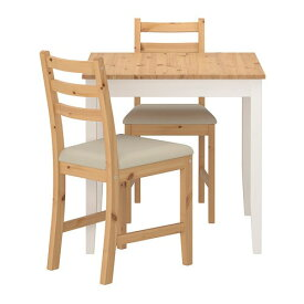 【IKEA/イケア/通販】 LERHAMN レールハムン テーブル&チェア2脚, ライトアンティークステイン ホワイトステイン, ヴィッタリード ベージュ(a)(S99306290)