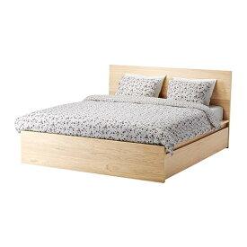 【IKEA/イケア/通販】 MALM マルム ベッドフレーム(※マットレスなど別売りの商品がございます。ご注意ください)(高め) 収納ボックス4個付き, ホワイトステインオーク材突き板, ルーローイ(S19244135)【代引不可商品】