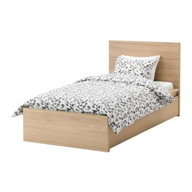 【IKEA/イケア/通販】 MALM マルム ベッドフレーム(※マットレスなど別売りの商品がございます。ご注意ください)(高め) 収納ボックス2個付き, ホワイトステインオーク材突き板, ルーローイ(S19200952)【代引不可商品】