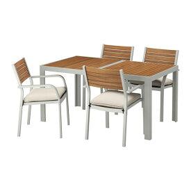 【IKEA/イケア/通販】 SJÄLLAND シェランド テーブル+チェアアームレスト付き4 屋外用, ライトブラウン, フローソーン/デューヴホルメン ベージュ(S69265494)【代引不可商品】