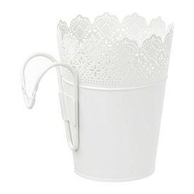 【IKEA/イケア/通販】 SKURAR スクラール 鉢カバー ホルダー付き, 室内/屋外用, ホワイト(a)(10387218)