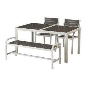 【IKEA/イケア/通販】 SJLLAND シェランド テーブル+チェア2+ベンチ 屋外用, ダークグレー, ライトグレー(S49265193)【代引不可商品】