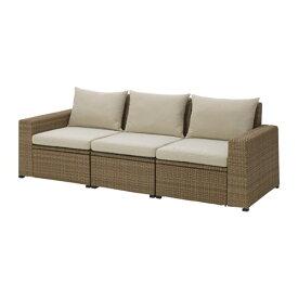 【IKEA/イケア/通販】 SOLLERÖN ソッレローン 3人掛けソファ 屋外用, ブラウン, ホッロー ベージュ(S49241381)【代引不可商品】