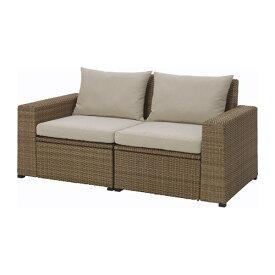 【IKEA/イケア/通販】 SOLLERÖN ソッレローン 2人掛けソファ 屋外用, ブラウン, ホッロー ベージュ(S39241485)【代引不可商品】