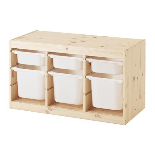 【IKEA/イケア/通販】 TROFAST トロファスト 収納コンビネーション, ライトホワイトステインパイン, ホワイト(c)(S29240877)