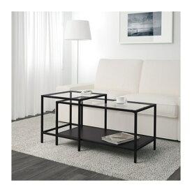 【期間限定】【IKEA/イケア/通販】 VITTSJÖ ヴィットショー ネストテーブル2点セット, ブラックブラウン, ガラス(d)(60215333)