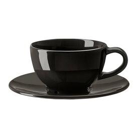 【特選商品】【IKEA/イケア/通販】 VARDAGEN ヴァルダーゲン コーヒーカップ&ソーサー, ダークグレー(c)(30288316)